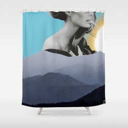 Over The Mountains - Smoking Woman Shower Curtain