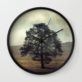 Golden Morning - Lone Tree at Sunrise Wall Clock