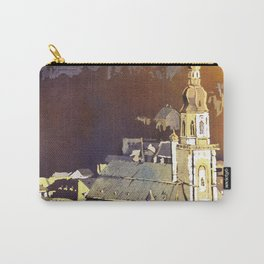 Watercolor painting of steeple of 13th century Church of the Holy Spirit in city of Heidelberg, Germany Carry-All Pouch