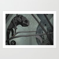 chameleon Art Prints featuring Chameleon by Andrew Formosa
