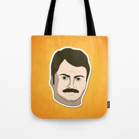 ron swanson Tote Bags featuring Ron Swanson by irosebot