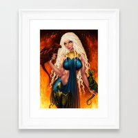 mother of dragons Framed Art Prints featuring Mother of Dragons by Sonia MS