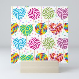 lollipops pattern, colorful spiral candy cane with twisted design Mini Art Print