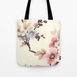 Pink & Blue Vintage Floral Design Tote Bag