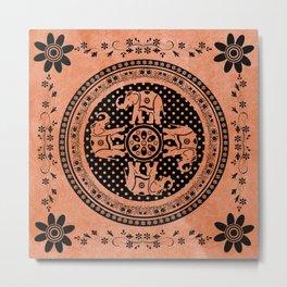 Indian Elephant Floral Hippie Bohemian Design On Orange Metal Print