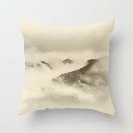 Mountain light BW. Foggy monochrome sunrise Throw Pillow