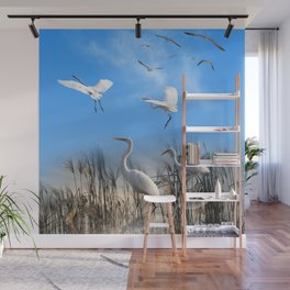 White Egrets in a Morning 1 Wall Mural