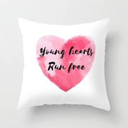 Young Hearts Run Free Throw Pillow