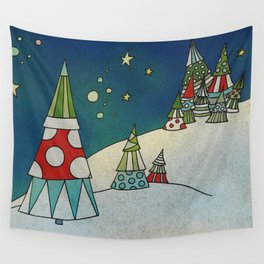 Winter Night on Mountains II Wall Tapestry