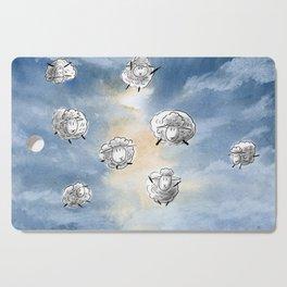 Digital Sheep in a Watercolor Sky Cutting Board