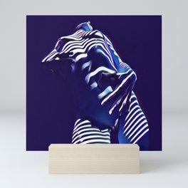 1570s-AK Sexy Blue Art Nude by Window Blind Blue Glow on Fit Body Mini Art Print