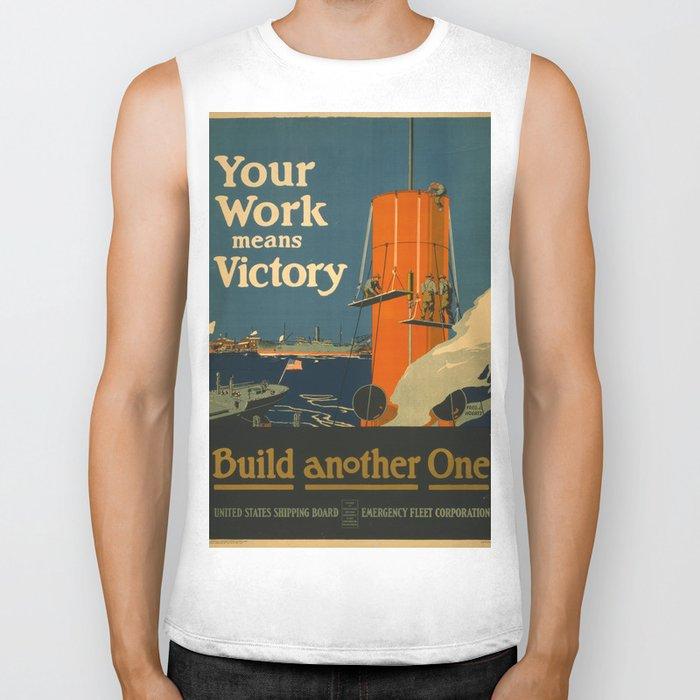 Vintage poster - Your Work Means Victory Biker Tank