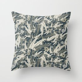 embroidered feathers Throw Pillow
