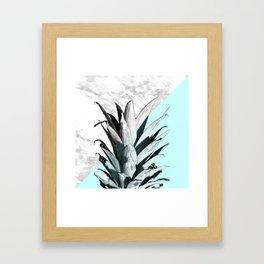 Pineapple Top Marble Pastel Blue Framed Art Print