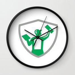 Plasterer Masonry Holding Trowel Crest Retro Wall Clock