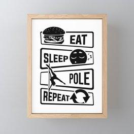 Eat Sleep Pole Dance Repeat - Poledance Dancing Framed Mini Art Print