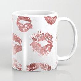 Fashion Lips Rose Gold Lipstick on Marble Coffee Mug