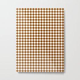 Small Diamonds - White and Brown Metal Print