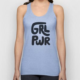 Grl Pwr black and white Unisex Tank Top