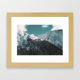 Snowy Mountains Under Teal Sky - Alaska Framed Art Print