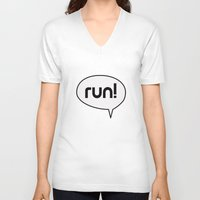run V-neck T-shirts featuring run by Mimy