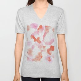 180527 Abstract Watercolour 19  | Watercolor Brush Strokes Unisex V-Neck