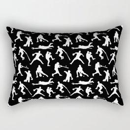 Baseball Players // Black Rectangular Pillow