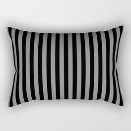 Black and Medium Gray Vertical Stripes Rectangular Pillow