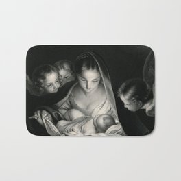 The Nativity, Virgin Mary with Infant Jesus surrounded by Angels Bath Mat