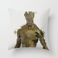 groot Throw Pillows featuring Groot by Scofield Designs