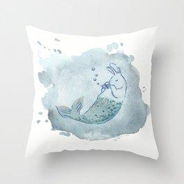 Panflute Merbunny Throw Pillow
