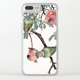 Pomegranate and Lovebirds Clear iPhone Case