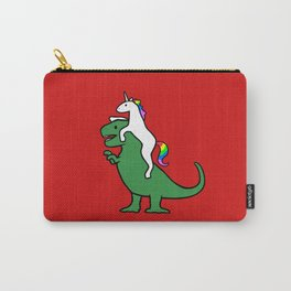 Unicorn Riding T-Rex (Red Background) Carry-All Pouch