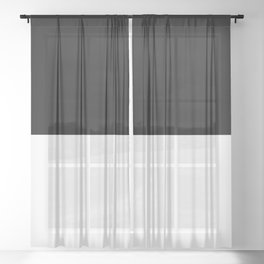 Black and white - Half and Half Split Sheer Curtain