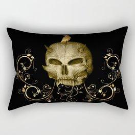 Golden skull with crow Rectangular Pillow