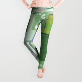 Sage Green Patchwork Leggings