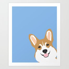 Corgi Peek  cute dog welsh corgi gift unique pet customizable gifts for dog lovers Art Print
