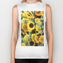 Happy Sunflowers Biker Tank