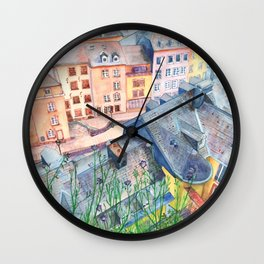 Luxembourg roofs Wall Clock