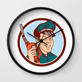 Gas Attendant Nozzle Winking Circle Cartoon Wall Clock