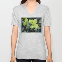 Clover Watercolor Four Leaf Clover Painting Lucky Charm Pattern Unisex V-Neck