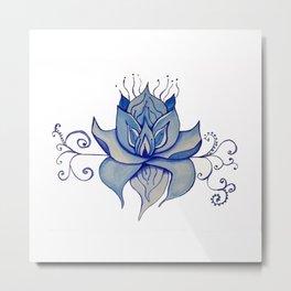Watercolor Blue Lotus Metal Print