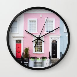 Pastel house Wall Clock