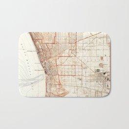Vintage Map of Redondo Beach & Torrance CA (1934) Bath Mat