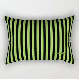 Halloween Stripes Green and Black Rectangular Pillow