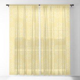 White Geometric Swirls 4 Sheer Curtain