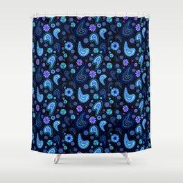 Paisley Power (Black Background) Shower Curtain