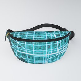 St. Petersburg, FL, USA, Blue, White, Neon, Glow, City, Map Fanny Pack