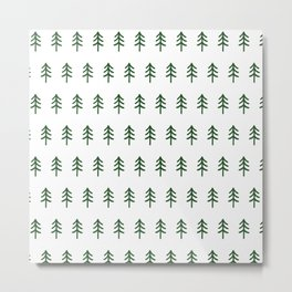 Hand drawn forest green trees Metal Print