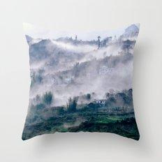 Foggy Mountain of Vietnam Throw Pillow